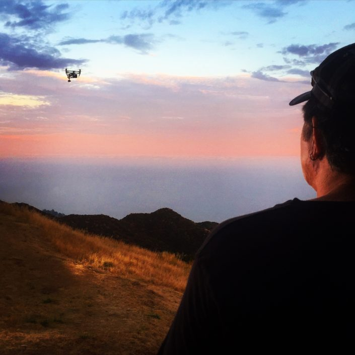 professional drone pilot Drew Cobb in Malibu at Sunset