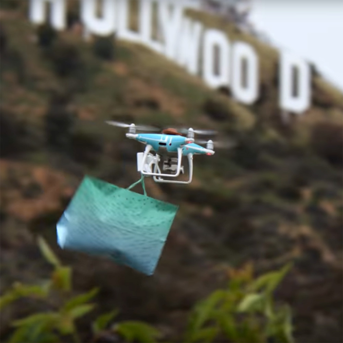Hollywood sign, amazon delivery drone